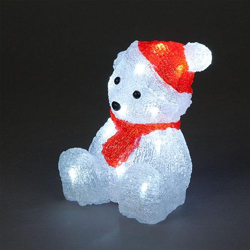 19cm Acrylic Sitting Polar Bear 16 Ice White LEDs