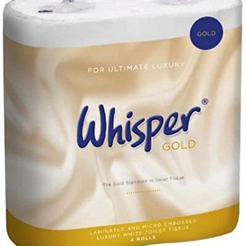 Whisper Gold Toilet Roll Pack of 4