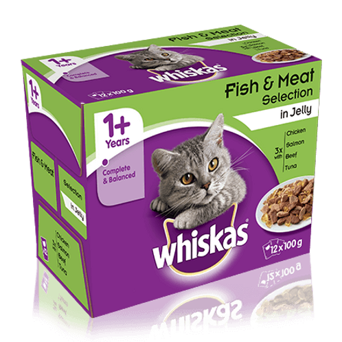 Whiskas 1+ Fish & Meaty Selection In Jelly