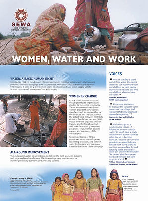 SEWA, SEWA, water management, water governance, flyer, women water and work in rural india