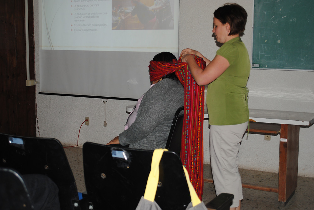 Showing benefits of the rebozo for a laboring woman.