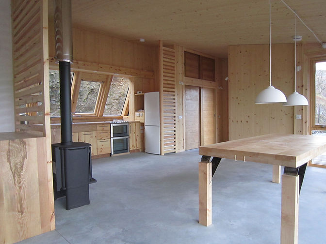 handcrafted native timber interior of bespoke luxury eco-house near Ullapool Scottish Highlands