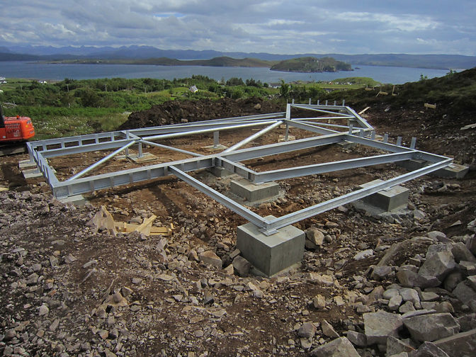 an engineered steel substructure for an architectural custom-designed eco-home in sustainable materials near Gairloch, Scotland