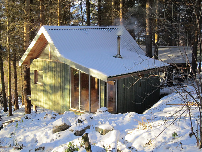 tiny house in the woods made from local timber