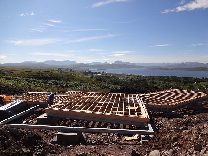 a steel and timber engineered foundation for a luxury eco home near Gairloch