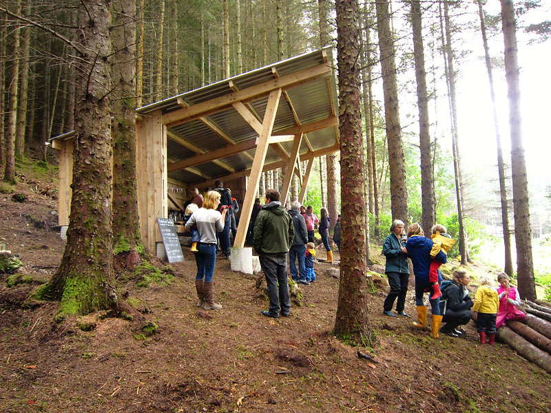 outdoor children's nursery built with local timber in Leckmelm Wood