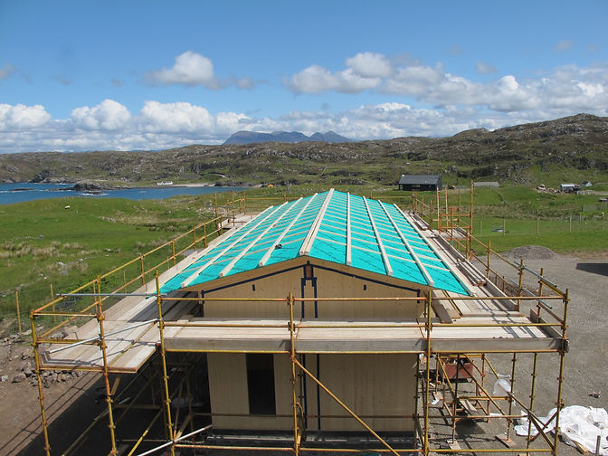 cross-laminated timber luxury eco home under construction near Lochinver