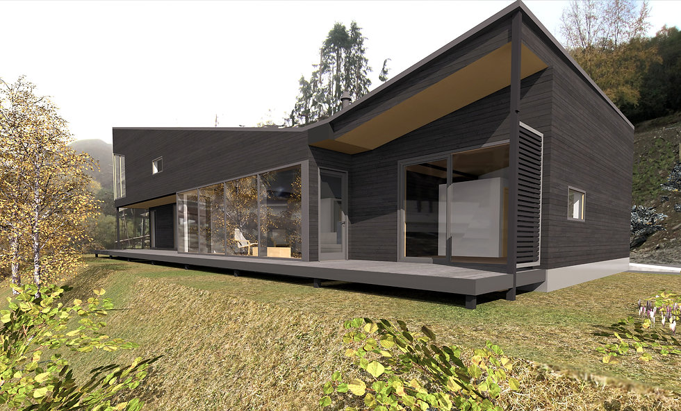 a CAD drawing of an architectural custom-designed eco-home in sustainable materials near Ullapool, Scotland