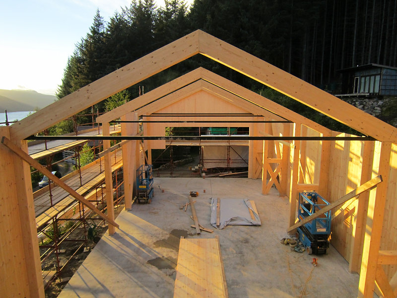 cross-laminated mass timber and glue-laminated timber structure of custom workshop for North Woods, Ullapool