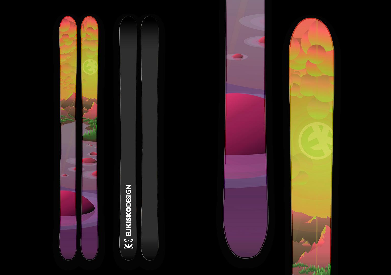 Neon Sunrise Skis