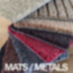 Selection of Door mat samples, different colours, red brown, grey coir mats, as well as synthetic matting