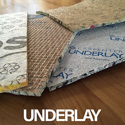 Selection of different Carpet underlay samples, Cloud 9 underlay, Carpenter underlay, 8mm underlay, 10mm underlay