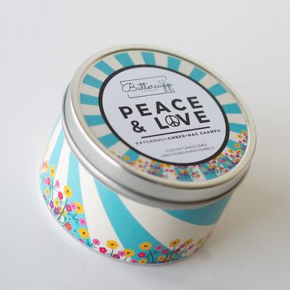 Peace & Love Tin Candle