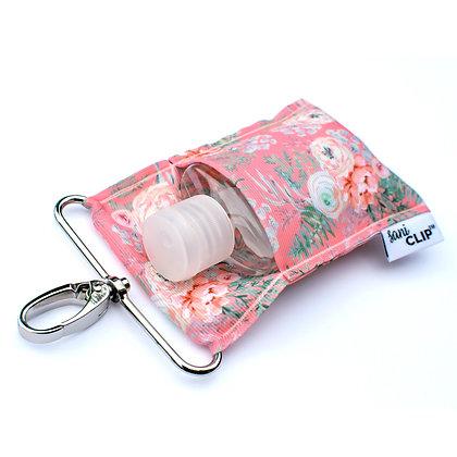 Coral Vintage Floral SaniClip™ Hand Sanitizer Holder