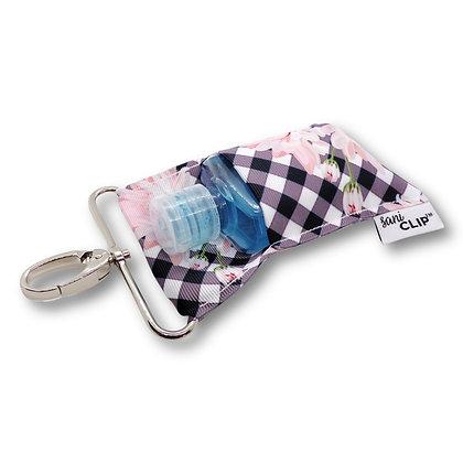 Gingham Pink Floral SaniClip™ Hand Sanitizer Holder