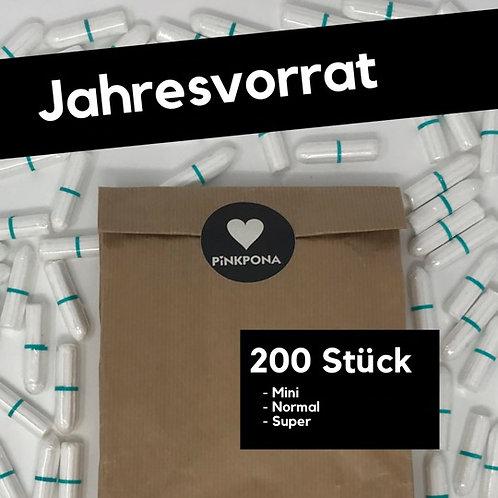 200 Bio Baumwolltampons - im Papierbeutel