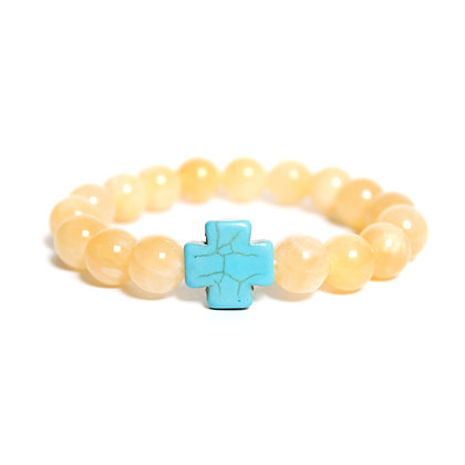 Yellow Jade + Turquoise Cross