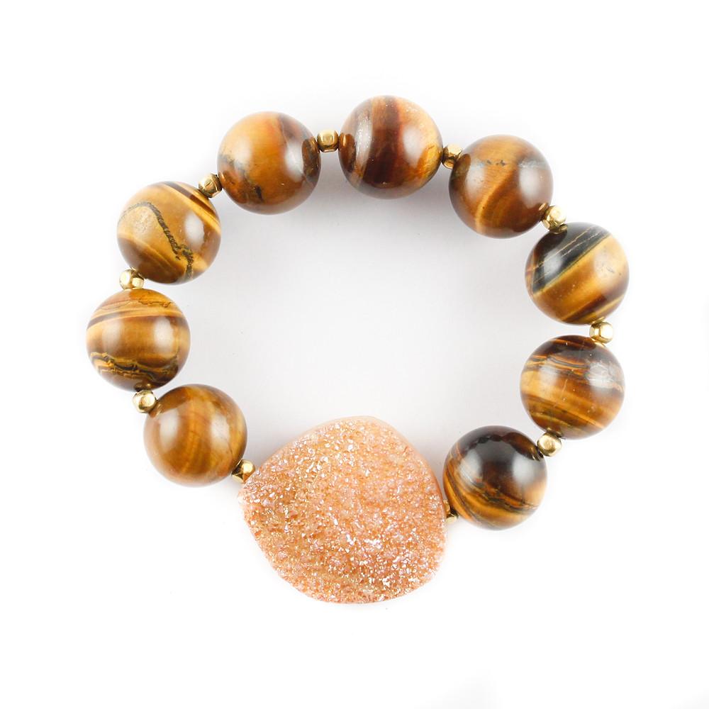druzy, busywrist, bracelets, tiger's eye, agate, gold, jewelry