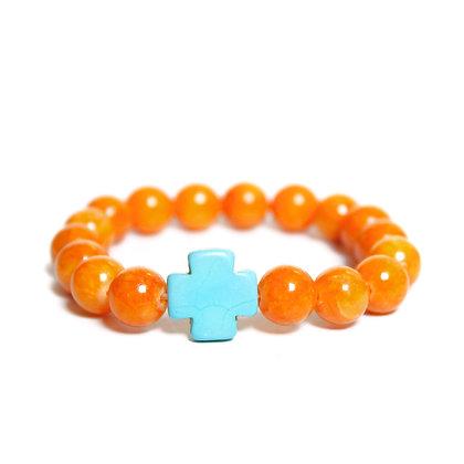 Orange Jade + Turquoise Cross
