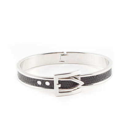 Black & Silver Belt Bangle
