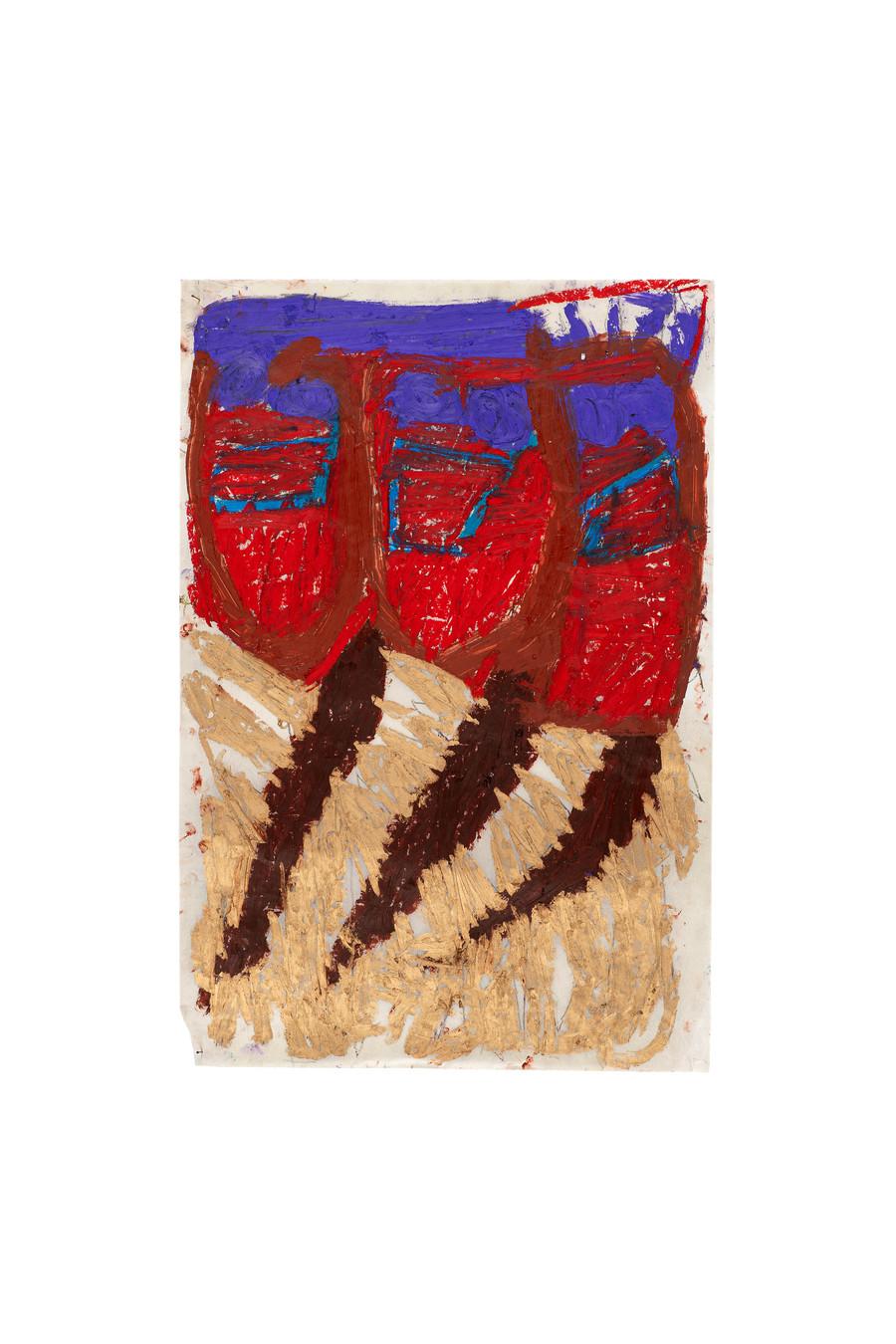 Vicente Saraiva, Esquadrão de Orfãos, 2020, Barra de óleo sob papel, 67,5x45,5cm