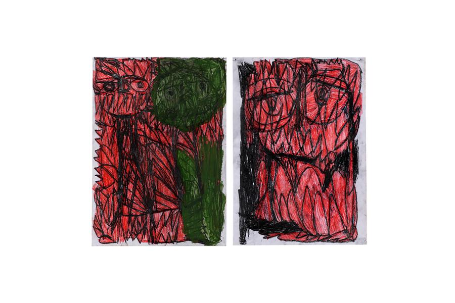 Vicente Saraiva, sem título, 2020, 1: Lápis de cor, barra de oleo e grafite sob papel e 2: Lápis de cor e grafite sob papel, 84x60cm (cada desenho 42 x30cm aprox.)
