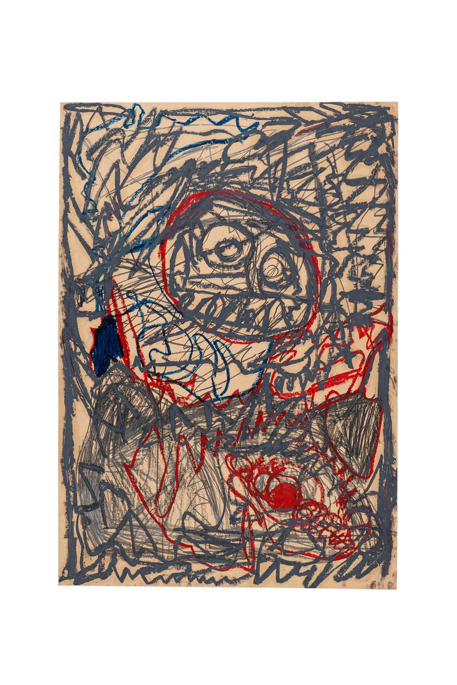 Vicente Saraiva, sem título, 2020, Barra de óleo e grafite sob papel, 110x77cm