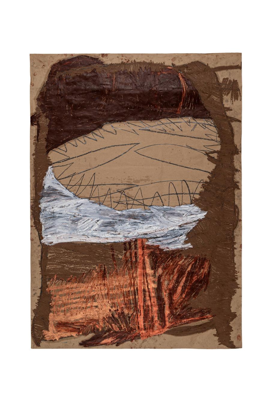 Vicente Saraiva, sem título, 2021, Barra de óleo e grafite sob papel, 140x101cm