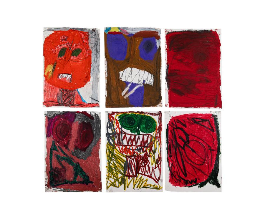 Vicente Saraiva, sem título, 2020, Barra de óleo e grafite sob papel, 126x x120cm (cada desenho 60 x 42 cm aprox.)