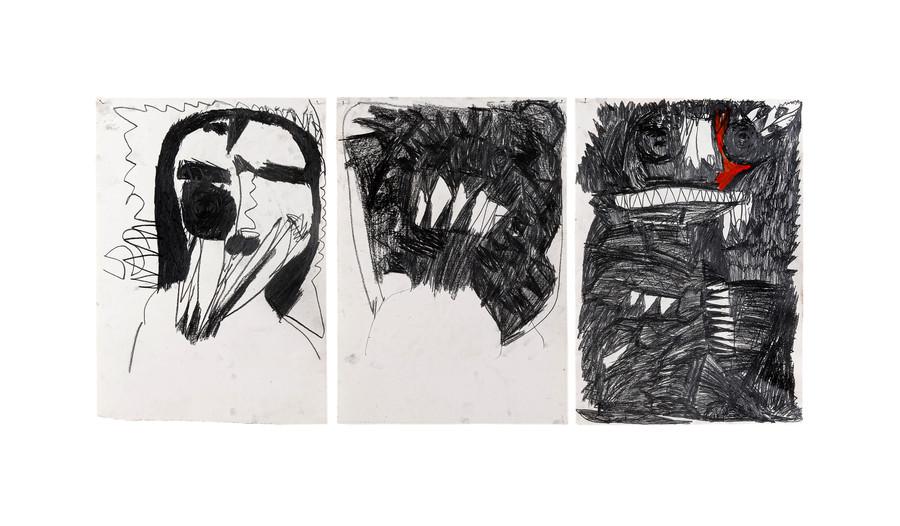 Vicente Saraiva, sem título, 2020, 1 e 2: Grafite sob papel e 3:Barra de Oleo e grafite sob papel, 120x x84cm (cada desenho 60 x 42 cm aprox.)