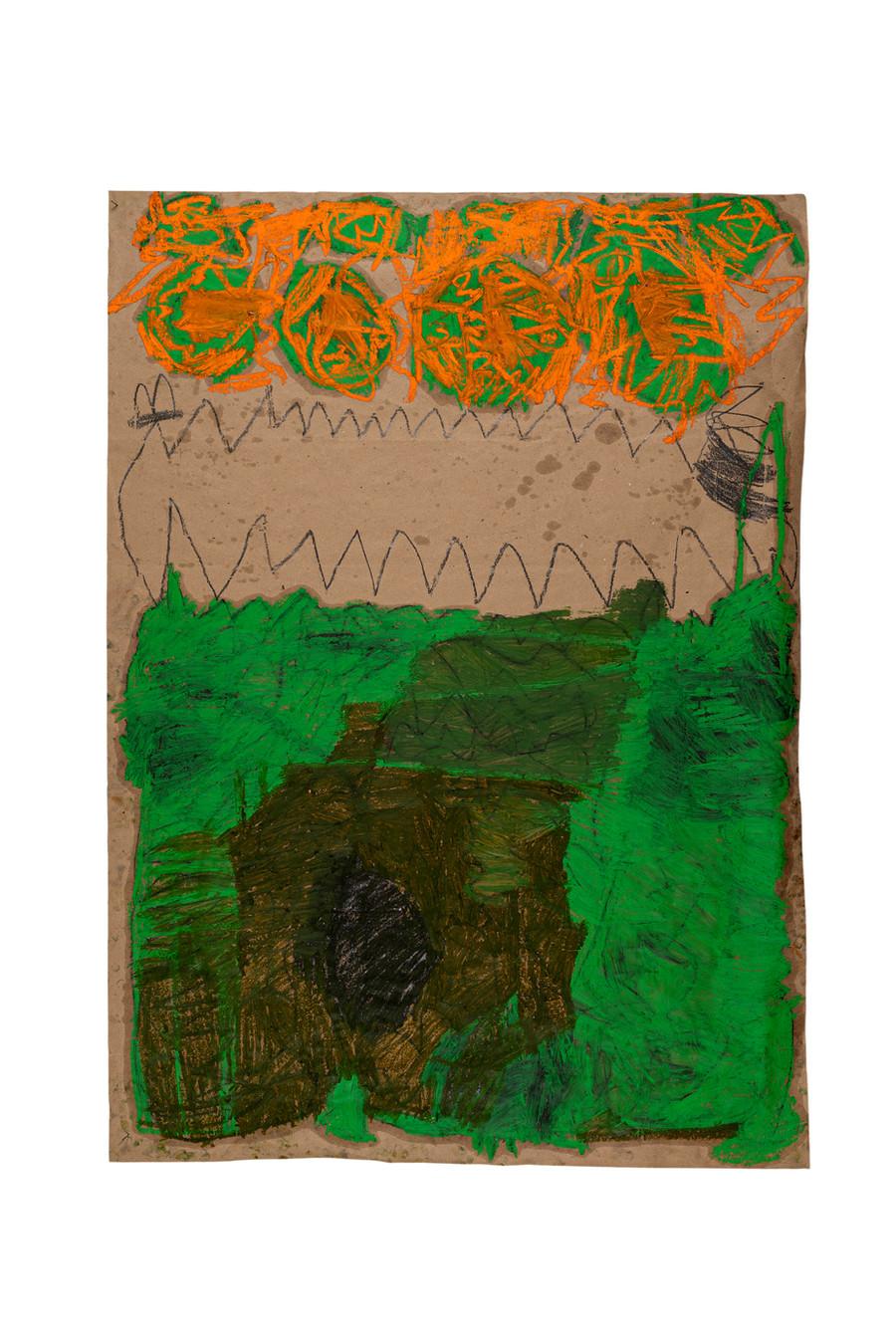 Vicente Saraiva, sem título, 2020, Barra de óleo e grafite sob papel, 140x101cm