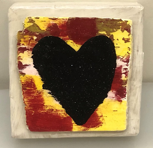 """BLACK GLITTER HEART WITH RED AND YELLOW"""