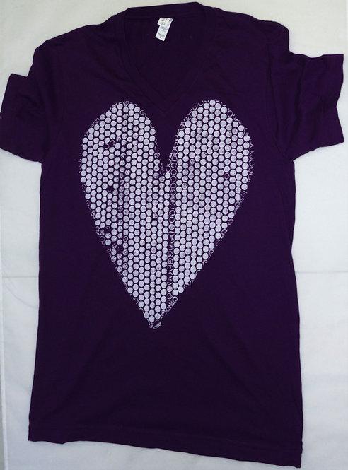 Polka Dot Heart V-Neck T-Shirt
