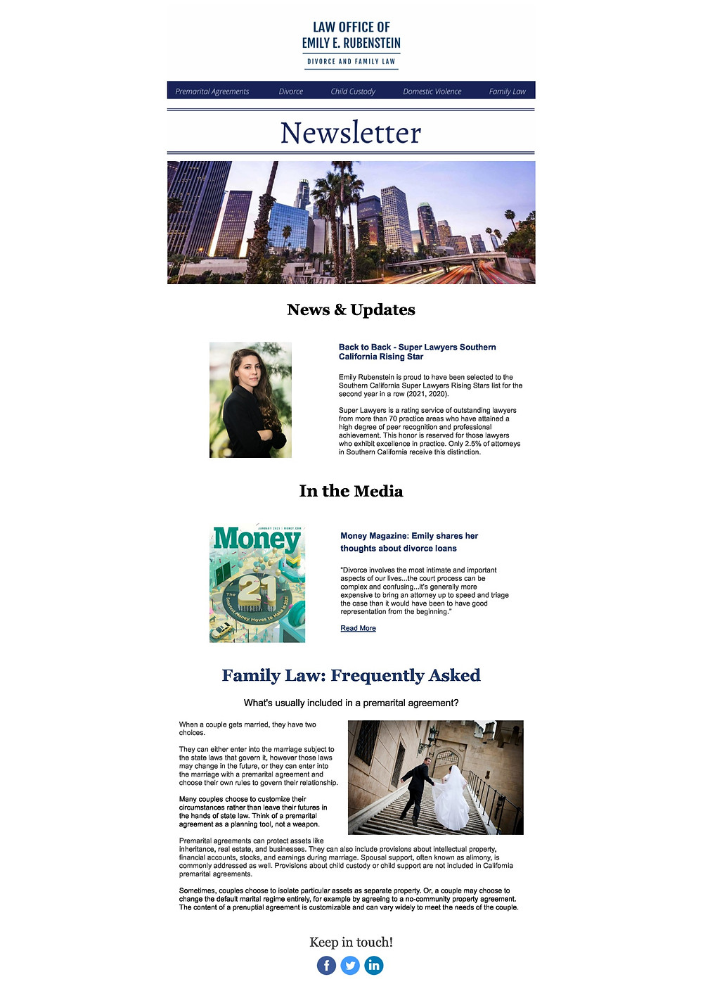Law Office of Emily E. Rubenstein's January 2021 Divorce and Family Law Newsletter - Beverly Hills