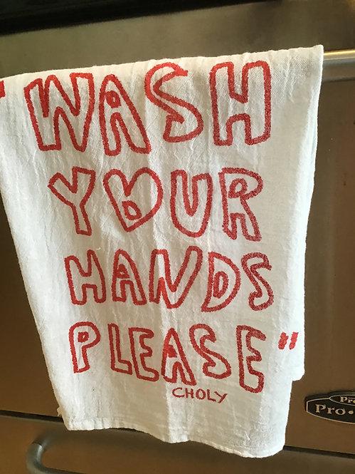 """""""Wash Hands Please"""" Towel"""
