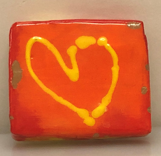 """YELLOW HEART ON ORANGE"""