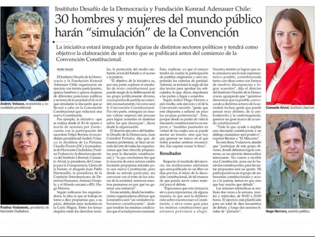 """El Mercurio: 30 hombres y mujeres del mundo público harán """"simulación"""" de la Convención. 03 abril 21"""