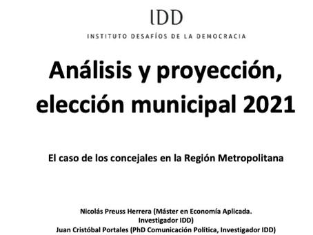 Informe Análisis y proyección, elección municipal 2021. Concejales región Metropolitana.