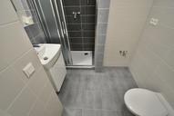 Koupelna se sprchovým koutem, WC a prostorem pro pračku.