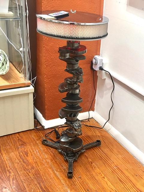 """Crankshaft Lamp,"" by Pete Zinck."