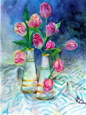 Beverley Coates WATERCOLOR 16x20 Tulips.