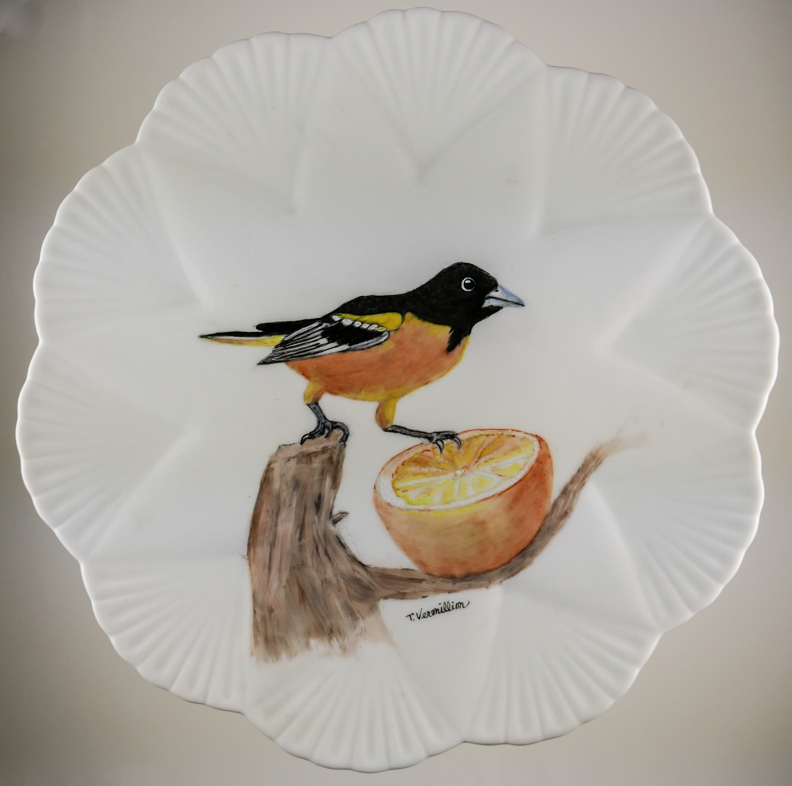 """Oriole and Orange Plate,"" by Trish Vermillion."