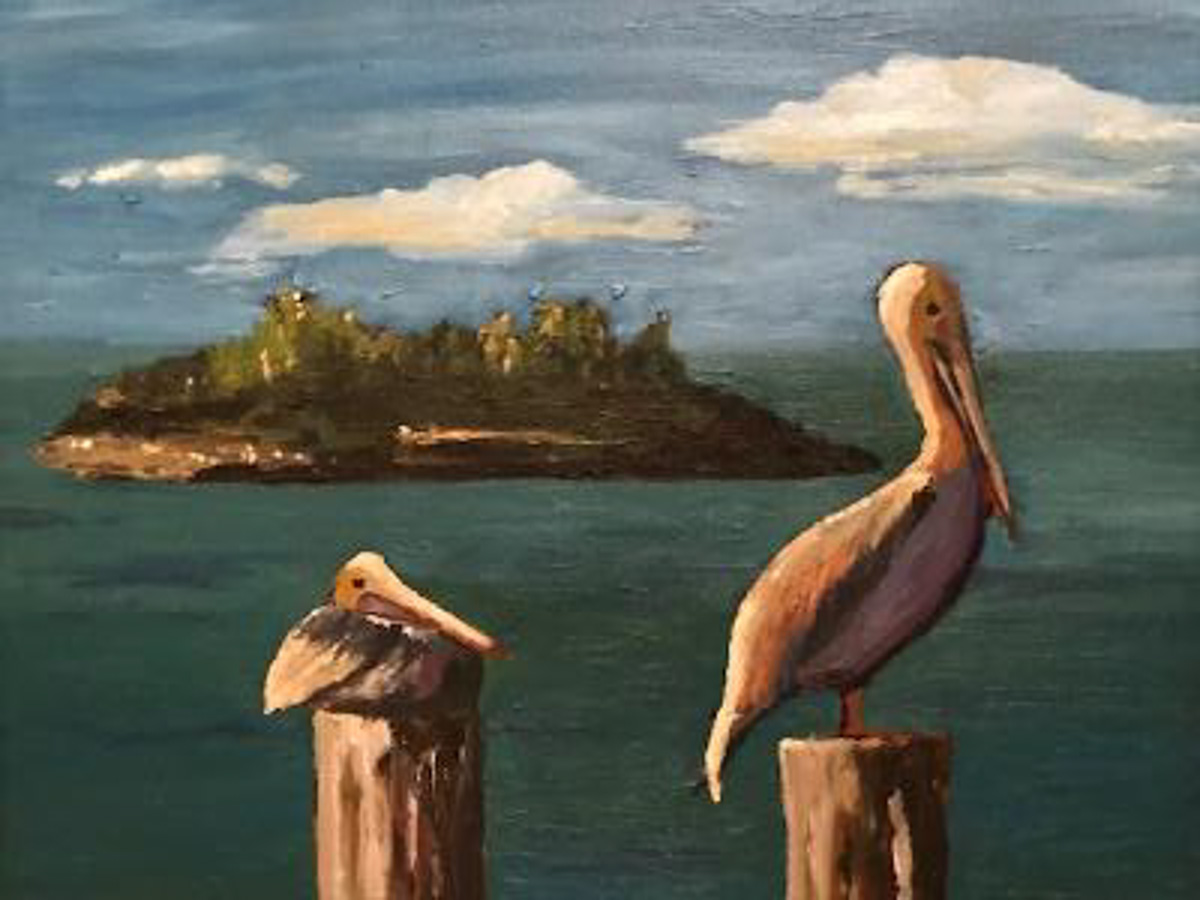 """Pelicans Perched"" by Collette Caprara"