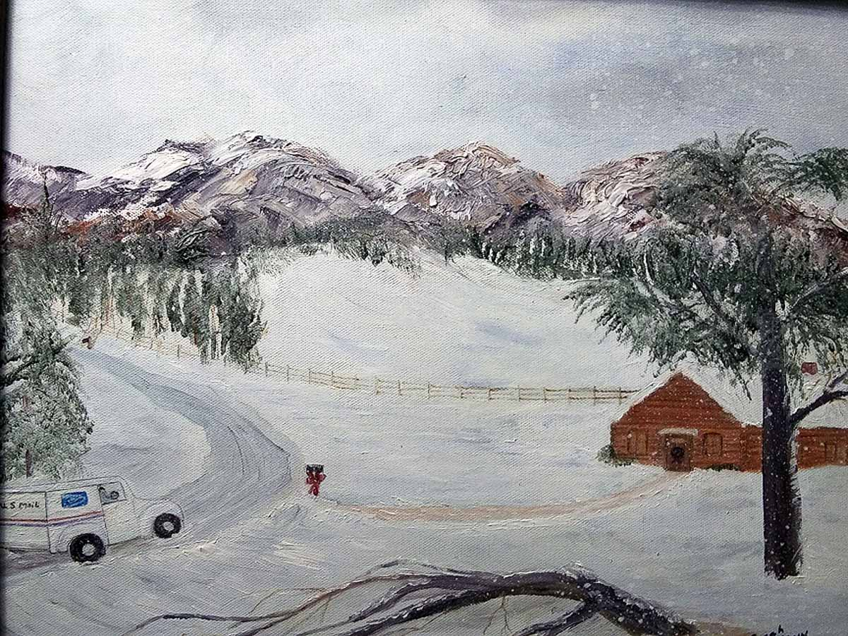"""Winter Mail"" by Sarah Flinn_oil_$150-16."