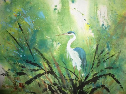 Carol Waite, Blue Heron Splash, 19x16, $