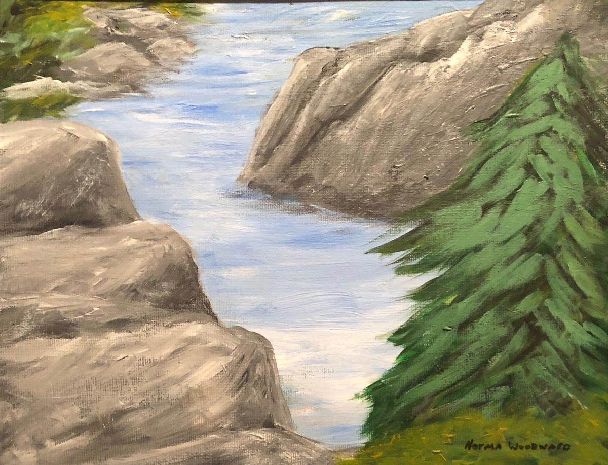 """Streamside"" by Norma Woodward_11x14_acrylic_$"