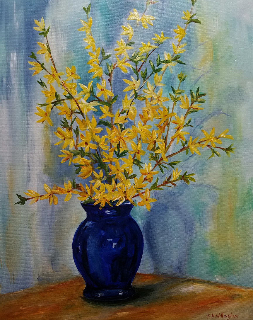 """Forsythia in Blue Vase,"" by Kathleen Willingham."