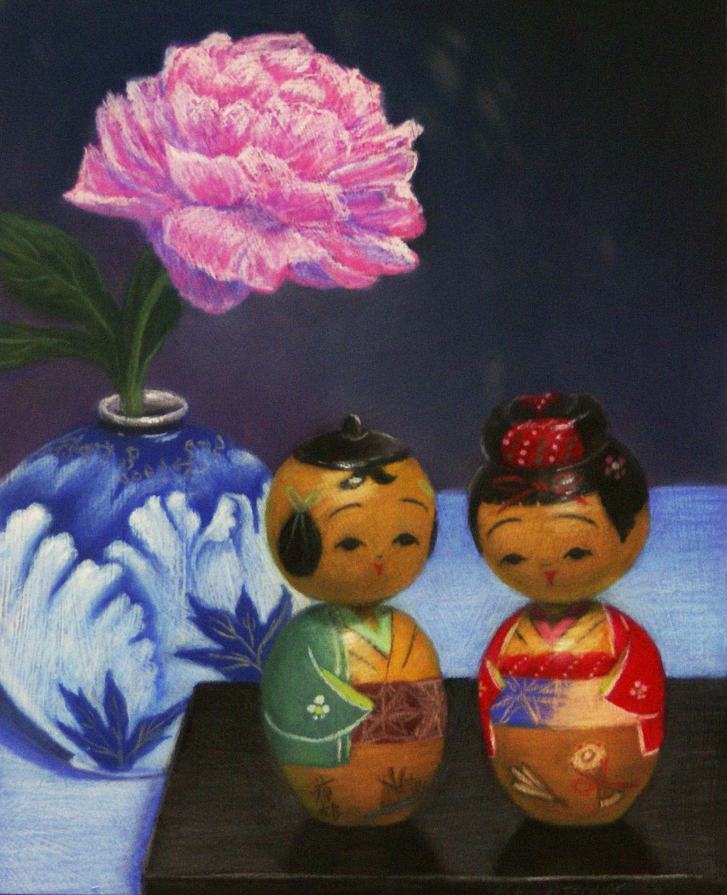 Blue Peony Vase with Old Dolls