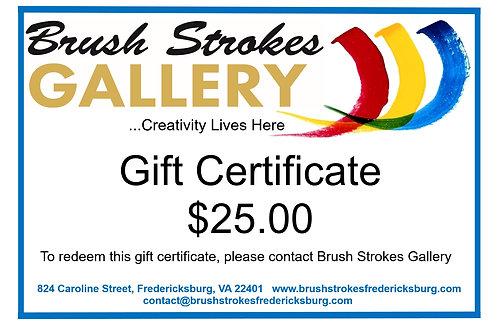 Brush Strokes Gallery Gift Certificate for $25.00