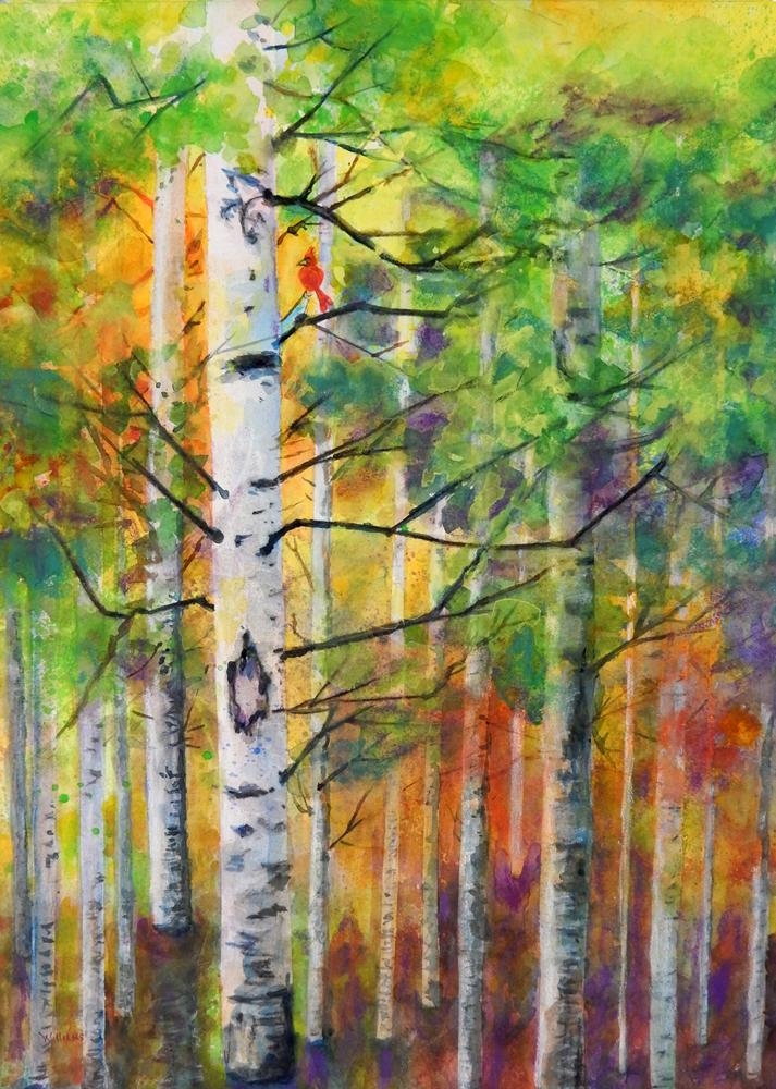 """Red Bird in the Forest,"" by Nancy Williams."